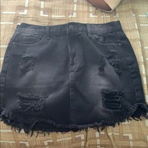Black Denim Distressed Mini Skirt